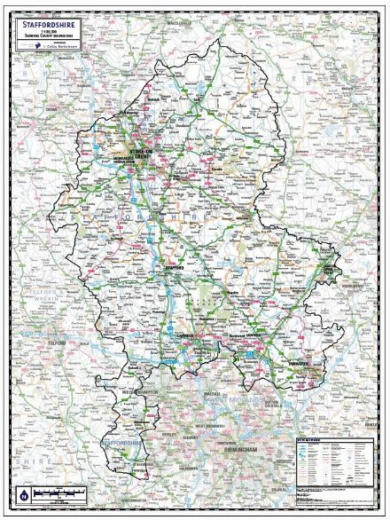 Staffordshire County Wall Map
